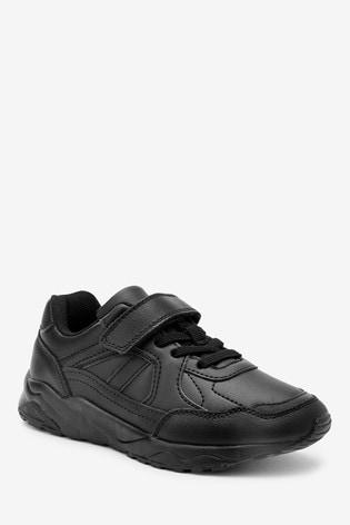 Black Single Strap Elastic Lace Trainers