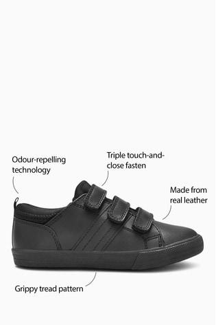 Black Standard Fit (F) Leather Triple Strap Shoes (Older)