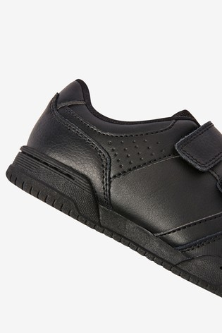 Black Leather Double Strap Shoes