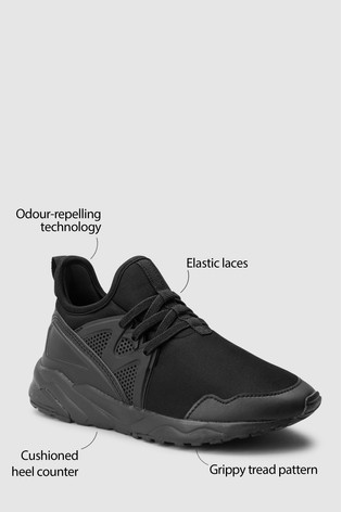 Black Elastic Lace Trainers
