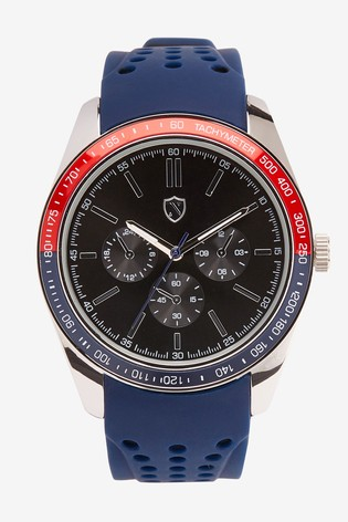 Blue Silicone Strap Watch