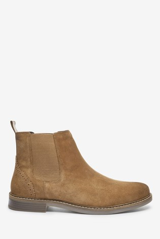 Tan Suede Waxy Finish Chelsea Boots