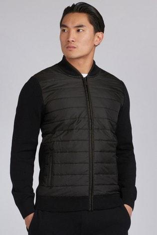 Barbour® International Black Baffle Zip Through Knit