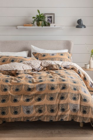 Brushed 100% Cotton Bear Duvet Cover and Pillowcase Set