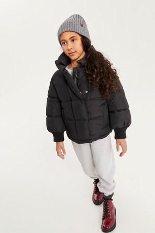 Black Shower Resistant Padded Jacket (3-16yrs)