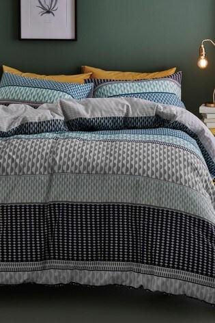 2 Pack Reversible Mini Geo Stripe Duvet Cover And Pillowcase Set
