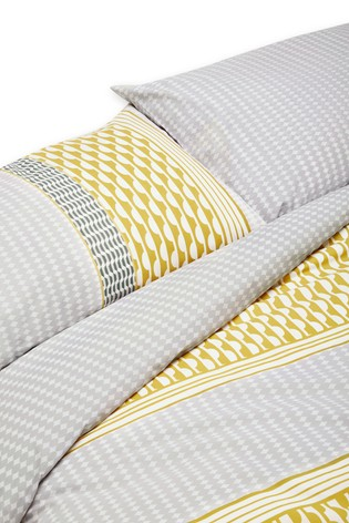 2 Pack Reversible Mini Geo Stripe Duvet Cover And Pillowcase Set