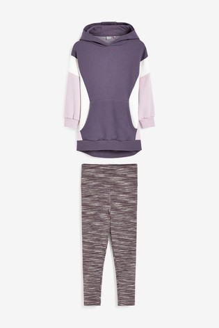 Purple Colourblock Hoodie And Leggings Sports Set (3-16yrs)