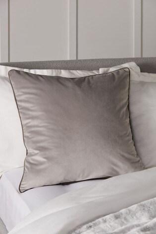Grey/Grey Mila Twin Velvet Large Square Cushion
