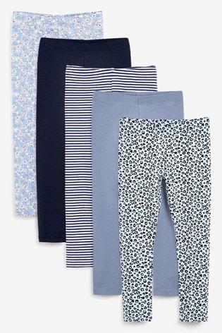 Blue Animal 5 Pack Leggings (3-16yrs)