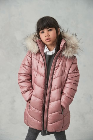 Pink Faux Fur Trim Shower Resistant Padded Coat (3-16yrs)