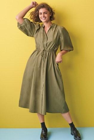 Khaki Cotton Shirt Dress