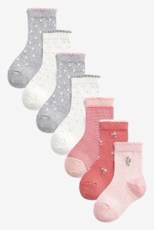 Pink 7 Pack Pretty Ankle Socks