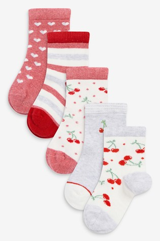 Red 5 Pack Cherry Ankle Socks