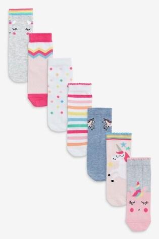 Pink 7 Pack Unicorn Socks