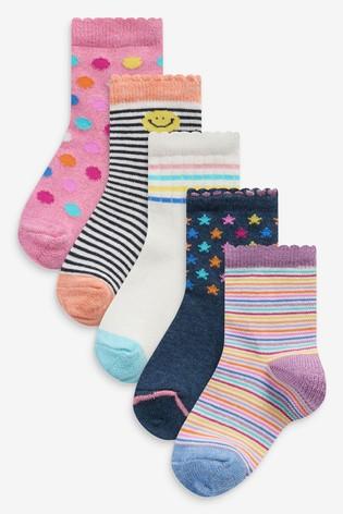 Multi 5 Pack Bright Sporty Ankle Socks
