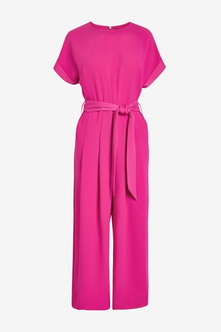 Pink Belted Cropped Jumpsuit