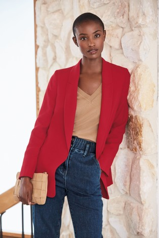 Red Relaxed Soft Crepe Blazer