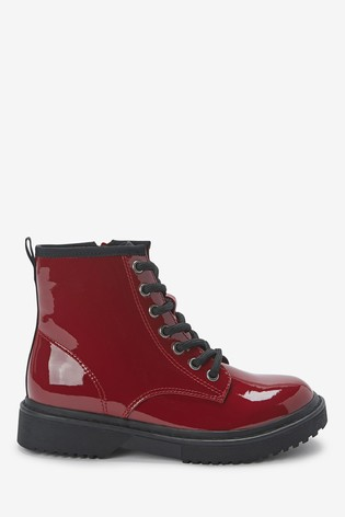 Burgundy Patent Warm Lined Lace-Up Boots (Older)