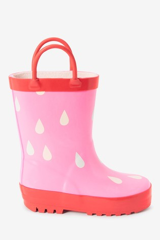Pink Colour Changing Raindrop Handle Wellies (Younger)