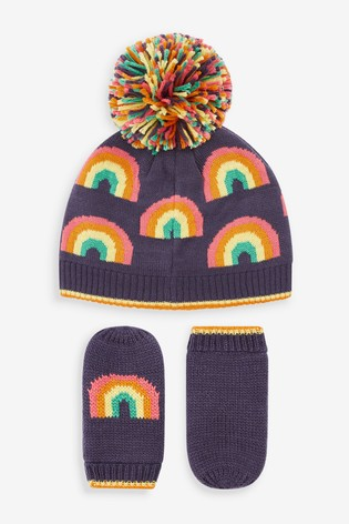 Navy Rainbow Beanie And Mittens 2 Piece Set (Younger)