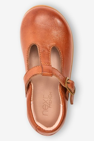 Tan Leather Standard Fit (F) Little Luxe™ T-Bar Shoes
