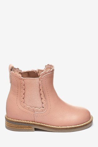 Pink Leather Little Luxe™ Scallop Chelsea Boots (Younger)