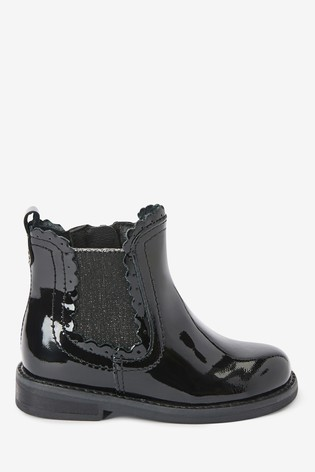 Black Patent Leather Little Luxe™ Scallop Chelsea Boots (Younger)