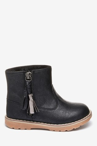 Black Warm Lined Tassel Ankle Boots (Younger)