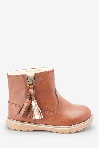 Tan Warm Lined Tassel Ankle Boots (Younger)
