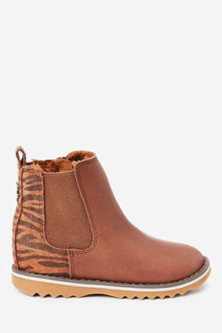 Chocolate Warm Lined Leather Chelsea Boots (Younger)