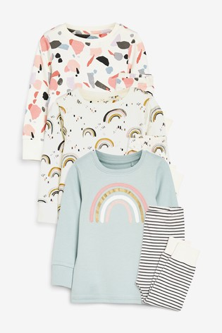 Monochrome/Mint 3 Pack Rainbow/Terrazzo Print Cotton Snuggle Pyjamas (9mths-12yrs)