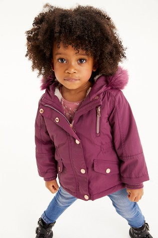 Berry Faux Fur Trim Shower Resistant Parka (3mths-7yrs)