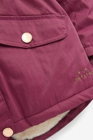 Berry Faux Fur Trim Shower Resistant Parka (3mths-7yrs)