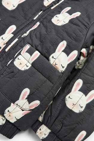 Charcoal Bunny Print Quilted Jacket (3mths-7yrs)