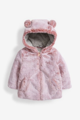 Pink Character Faux Fur Jacket (12mths-7yrs)