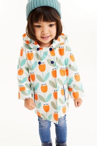 Orange Shower Resistant Floral Print Jacket (3mths-7yrs)