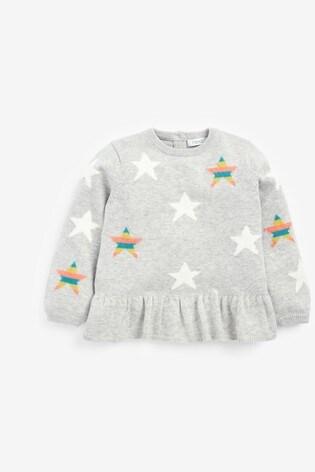 Grey Stars Peplum Jumper (3mths-7yrs)