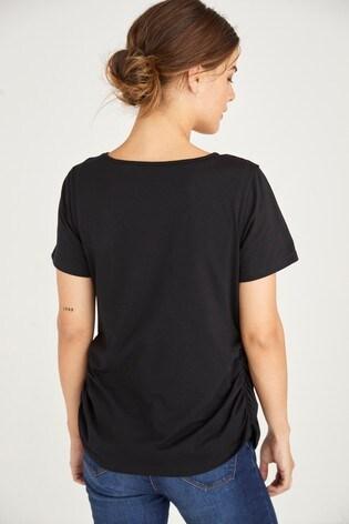 Black Maternity/Nursing Organic Layer Top