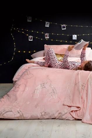 Metallic Fleece Unicorn Duvet Cover And Pillowcase Set