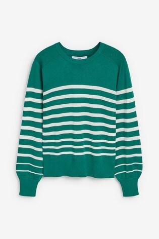Green Stripe Volume Sleeve Jumper