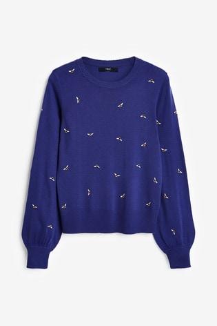 Blue Embroidered Volume Sleeve Jumper