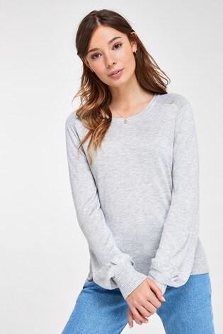 Grey Volume Sleeve Jumper