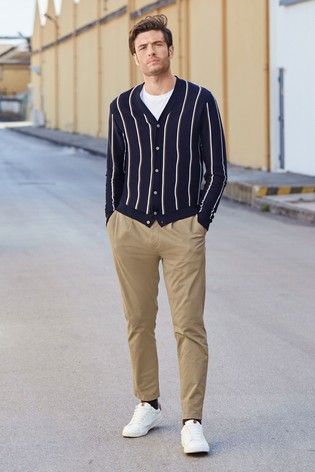 Navy/White Stripe Cardigan