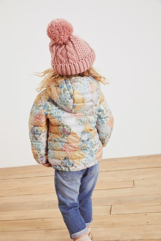 Pink Shower Resistant Patchwork Printed Padded Jacket (3mths-7yrs)