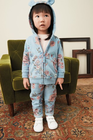 Blue Vintage Floral Hoody Soft Touch Jersey (3mths-7yrs)