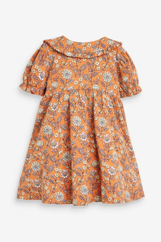Orange Floral Collar Dress (3mths-7yrs)