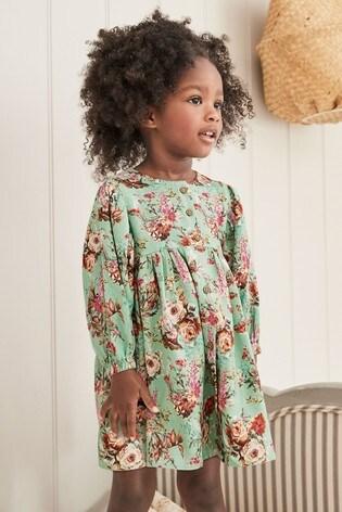 Mint Floral Volume Sleeve Dress (3mths-7yrs)