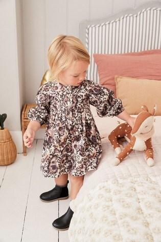 Animal Print Volume Sleeve Dress (3mths-7yrs)