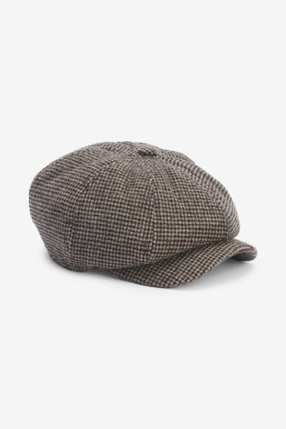 Brown Dogtooth Baker Boy Hat